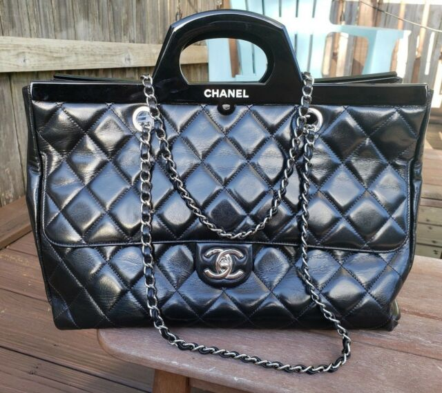 eb9b1cbac475 Authentic Pre-Owned Chanel CC Delivery Tote Large Black Quilted Silver  Hardware