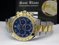 ROLEX - 18kt Gold & SS DAYTONA Blue-Red RACE SPORT Dial 116523 SANT BLANC