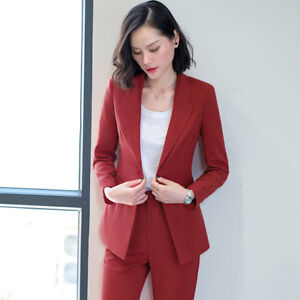 78ff7c25e5ab Caricamento dell immagine in corso Elegante-Tailleur-completo-donna-rosso -slim-giacca-manica-