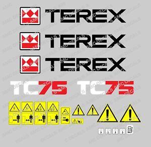 Terex-Tc75-Etiquetas-de-la-Excavadora-y-Pegatinas-De-Advertencia