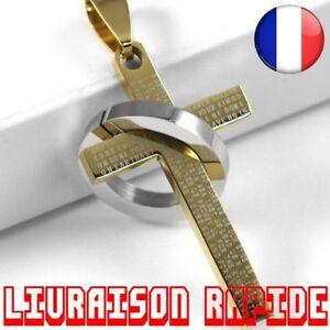 En acier inoxydable poli Cha/îne de 55 cm OIDEA Collier avec pendentif pour homme Croix espagnol Noir Pri/ère Bible