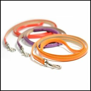 LUXURY-PATENT-LEATHER-DOG-LEAD-2-colours-to-choose-from-ORANGE-amp-PURPLE