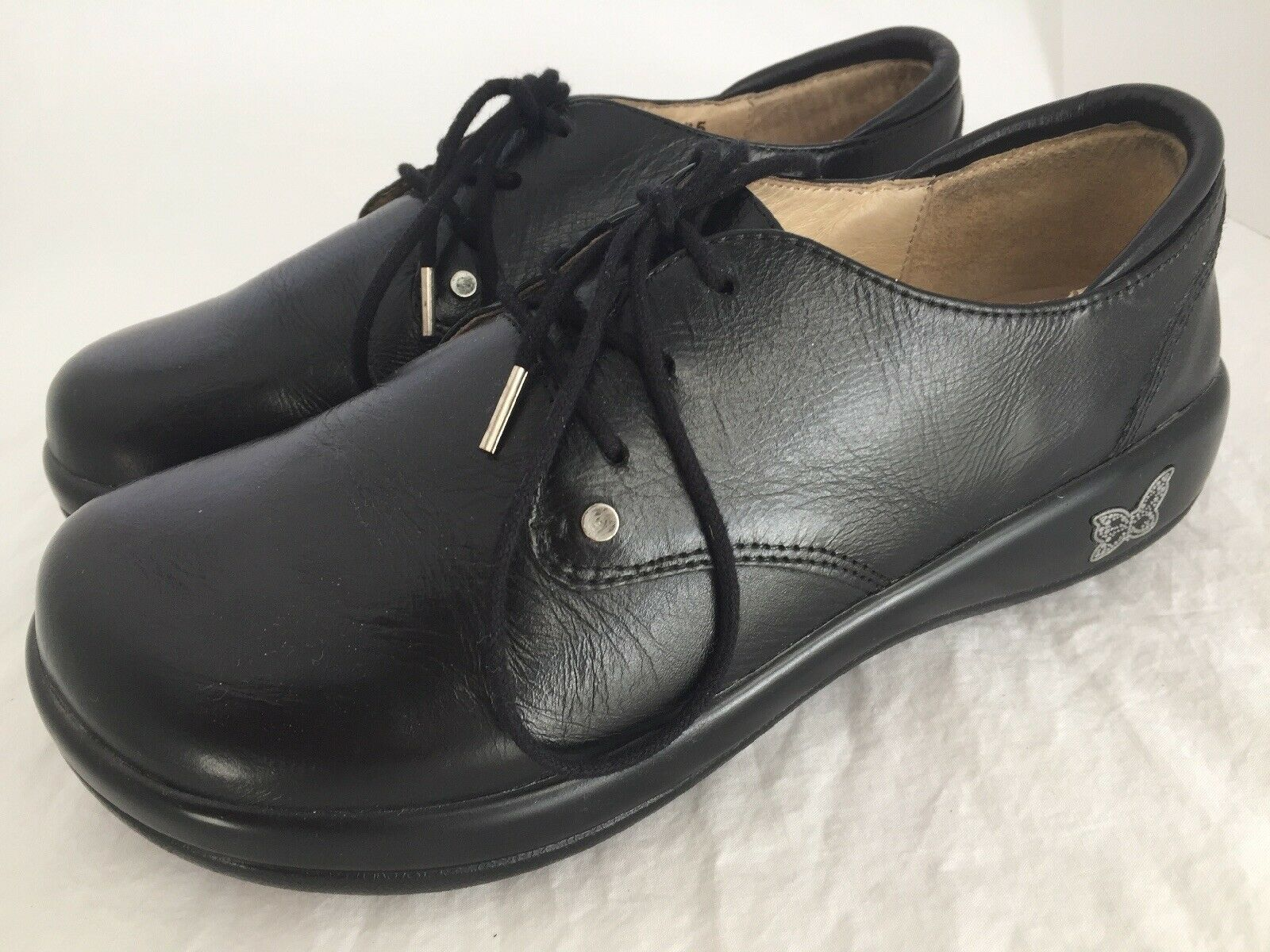 ALEGRIA Kory Black Leather Lace Up Oxfords shoes Women's Size 35