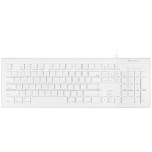 Macally Full Size USB Wired Keyboard MKEYE for Mac and PC White w/ Shortcut Hot