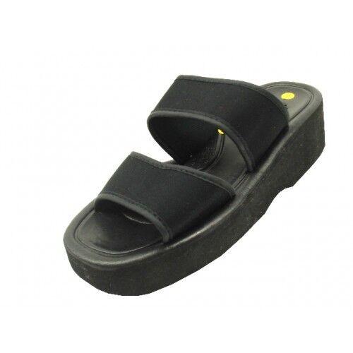 Women/'s Wedge Slide Platform Sandals 2 Band Straps Black Sizes 6-11 New