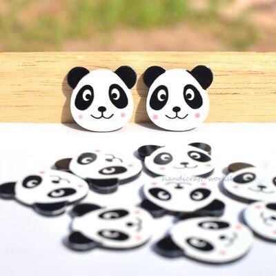 10Pcs Graffiti Resina Panda Botones hágalo usted mismo Scrapbooking Manualidades Accesorios Ornamento