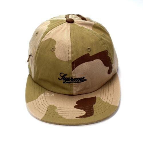 NWT Supreme NY Men/'s Camo Script Logo Hidden Zip Pocket Cap Hat SS18 AUTHENTIC