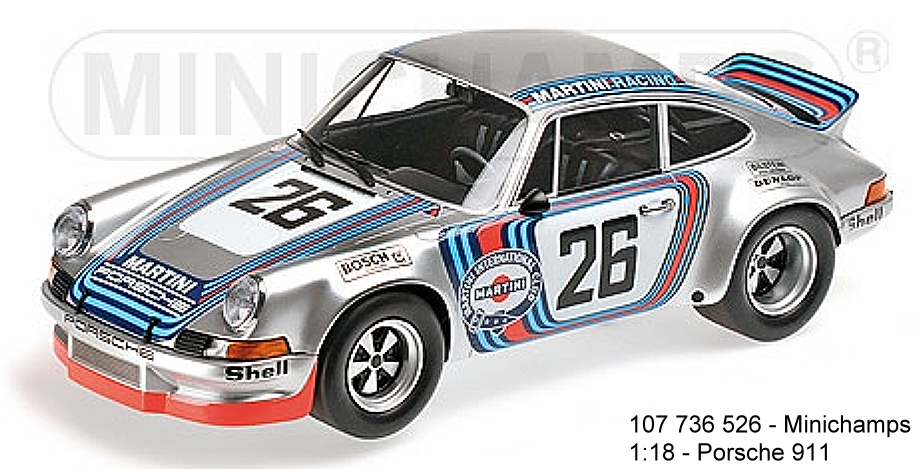 Minichamps 107736526 PORSCHE 911 Carrera RSR 2.8 Martini Racing Team