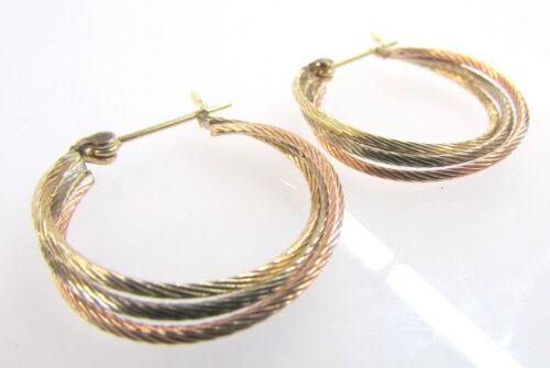 14K Tricolor Gold Triple Round Hoop Pierced Earrin