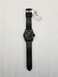 a7828ceadf7 Image is loading FOSSIL-MULTI-FUNCTION-BLACK-DIAL-BLACK-LEATHER-STRAP-