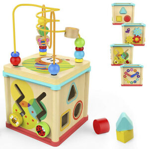 New-Wooden-Learning-Bead-Maze-Cube-5-in-1-Activity-Center-Educational-Toy-MA