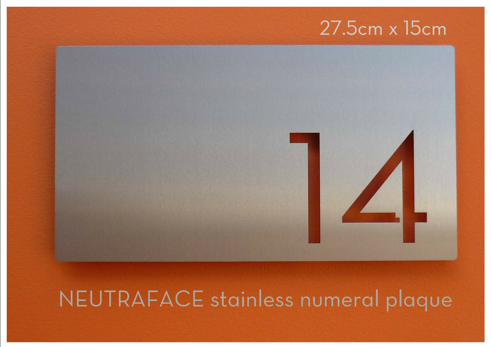 NEUTRAFACE Stainless Steel House Number   Numeral Plaque