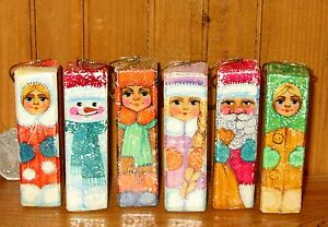 Christmas-Tree-Decorations-Russian-set-6-Unique-SANTA-SNOW-MAN-MAIDEN-Ornaments