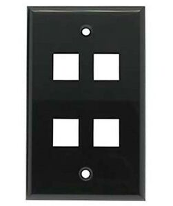 3x Smooth Face 1 Port Keystone Snap-in Jack Insert Wall Plate Faceplate Black