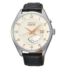Seiko SRN049 Mens Kinetic Rose Gold Accent Black Leather Steel Day Date Watch