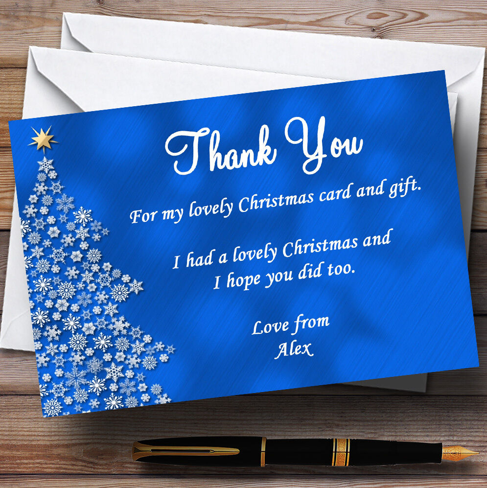 Blau Xmas Tree Personalised Christmas Party Thank You Cards