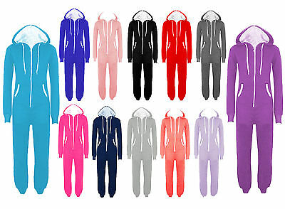 New Womens Mens Unisex Plain Ladies All In One Jumpsuit Hooded Onisie S To 5xl