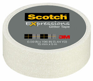 Scotch-Expressions-Pastel-White-Decorative-Glitter-Tape-by-3M-15mm-x-5m
