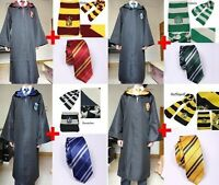 Harry Potter Hogwarts Youth Adult Robe Cloak+Scarf+tie set School Fancy Costumes