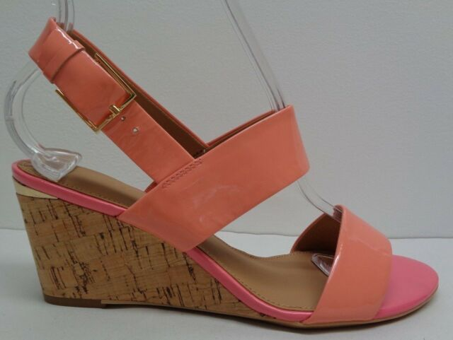 d936e139e98 Calvin Klein Size 7.5 PEARLA Coral Patent Leather Wedge Sandals New Womens  Shoes