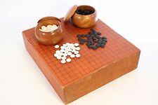 Antique Japanese Goban Go Goke Game Thick Wood Board Slate Shell Stones + Book