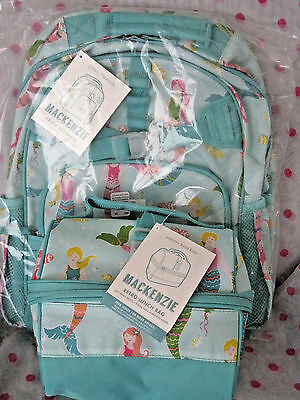 New Pottery Barn Kids Large Aqua Mermaid Backpack Retro