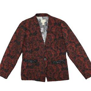 Chico's Red Black Brocade Single Button Blazer Jacket Womens Size 0 Small