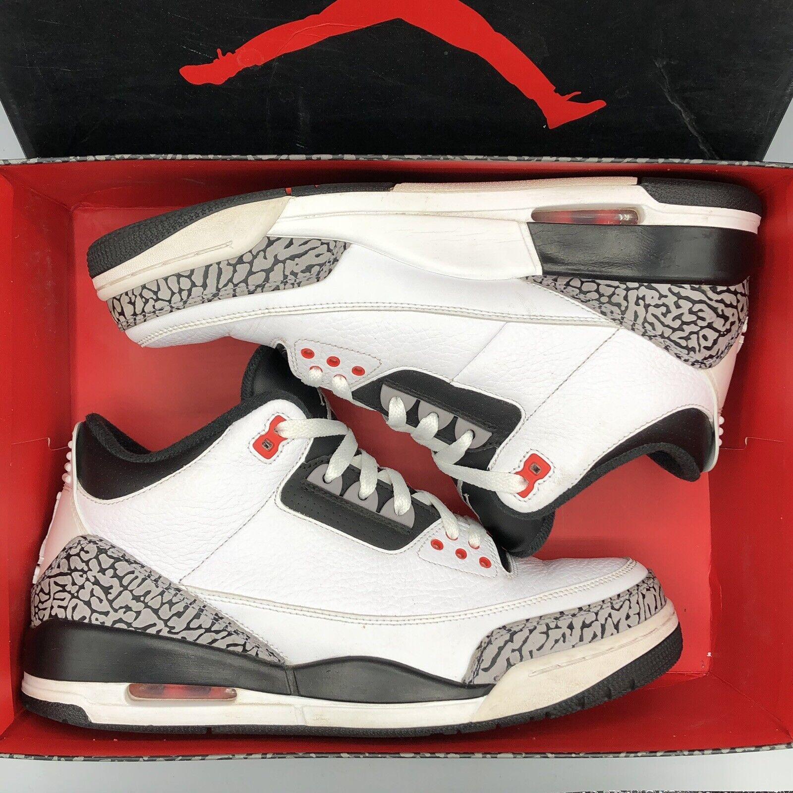 1aeaf65e04a Nike Air Jordan Retro III Infrared White Cement Black 10 136064 XI XII I SZ  123 nxkqpo942-Athletic Shoes