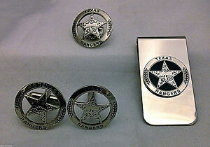 Engraved-Texas-Ranger-Badge-Set-Cuff-Links-Lapel-Pin-and-Money-Clip-silver