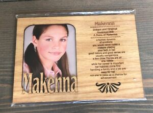 Wooden Frame With Name Meaning -Makenna | eBay