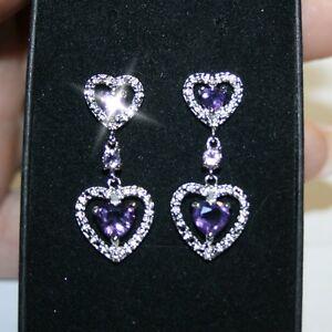 Image Is Loading Purple Amethyst Heart Tiny Diamonds Dangle Earrings White