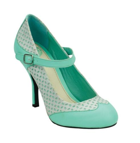 T.U.K A8565L Mint With Grey Diamond Punch Overlay Bombshell Heel