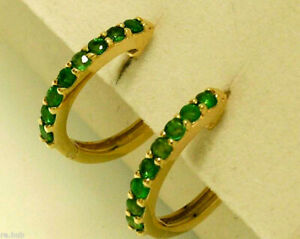 E027-Genuine-9K-9ct-Yellow-White-or-Rose-Gold-NATURAL-Emerald-Huggie-Earrings