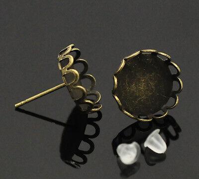 50 Paare Bronzefarben Rund Kamee/Cabochon Ohrstecker Ohrstopper 15x13mm
