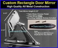 Mercury Rectangle Exterior Rearview Door Mirror W/ Gaskets & Screws Chrome