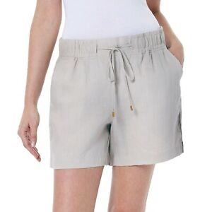 New-Women-039-s-Ellen-Tracy-Company-100-Linen-Drawstring-Shorts-Size-X-Large