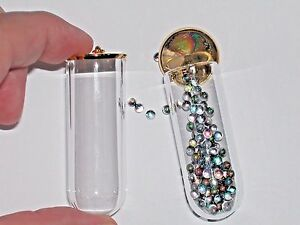 1-Glass-Large-Tube-wide-mouth-bottle-vial-gold-plated-cap-dome-potion-crafting