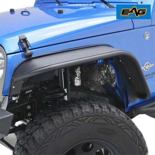 EAG Fits 07-18 Jeep Wrangler JK Front Steel Rocker Guard Textured Fender Flares