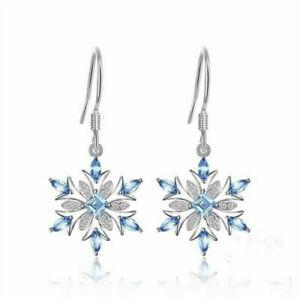 Fashion-925-Silver-Aquamarine-Snowflake-Earrings-Women-Christmas-Jewelry-Gift