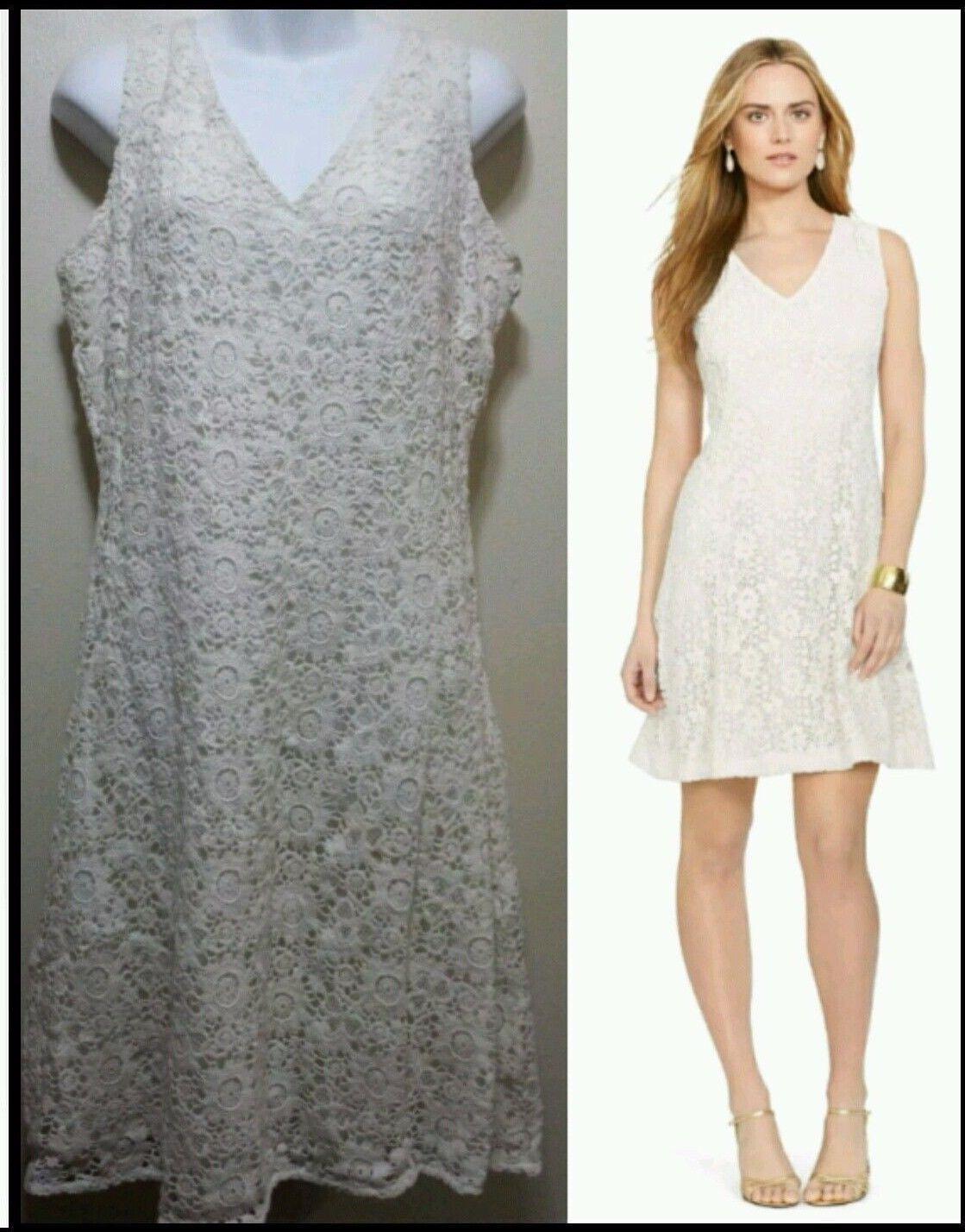 189 Lauren Ralph Lauren Ivory Crochet Lace Overlay Sleeveless Dress  12 M3020