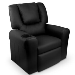 Kids Recliner Chair Padded Leather Armchair Children Lounge w/ Cup Holder Black