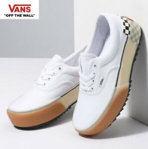 Details about VANS Era Stacked White Checkerboard Gum Sole Platform Street Style Shoes Women
