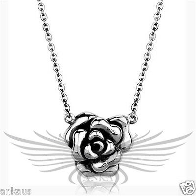 """Beautiful and Classy Rose Shaped Stainless Steel Pendant Necklace 16"""" TK1932 *"""