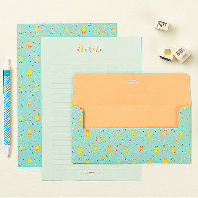 Girls Cute Yellow Baby Duck Letter set 4sh writing stationary paper 2sh envelope