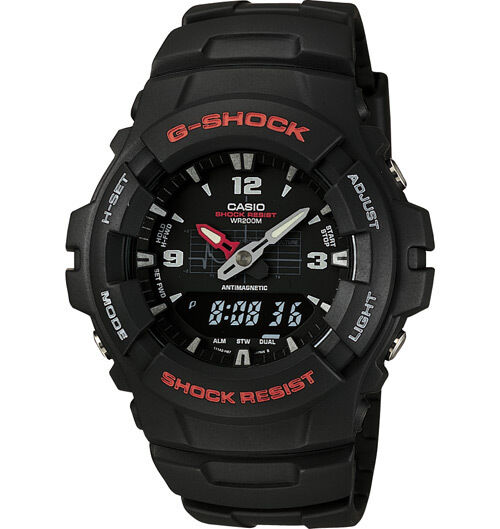 Casio G100-1BV, G-Shock Analog/Digital Watch, Black Resin Band, Alarm,