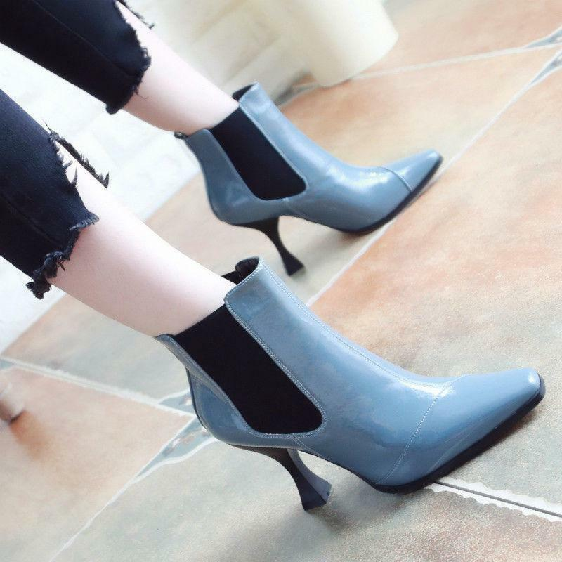 Women's Square Toe Ankle Ankle Ankle Boots Pull On Winter Patent Leather Heel shoes Zsell 222387