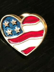 Vintage Collectible USA Flag Heart Avon Pinback Lapel Pin Hat Pin