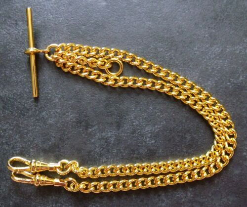 1 of 1 - Brand New Rolled Gold Fob Pocket Watch Double Albert Chain