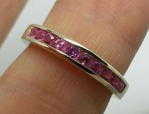 R165 Genuine 9K 9ct Gold Natural Pink Sapphire Ring Eternity Band made to size