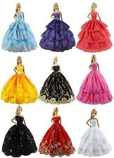 6pcs/Lot Barbie Doll Fashion Princess Dresses Outfits Party Wedding Clothes Gown